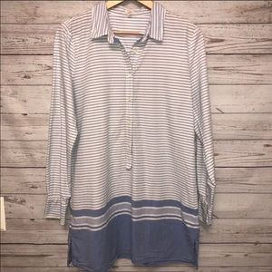 J Crew blue and white striped tunic size M